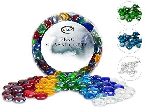 Erment - Hübsche Glasnuggets bunt - 800g – formschön & sauber – Glassteine bunt, Muggelsteine, Dekosteine I Kinder, Deko, Legematerial, basteln etc.