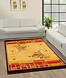 TrendyLiving4U - Alfombra de salón de pelo corto, tejido de poliéster, 150 x 225 cm, color marrón