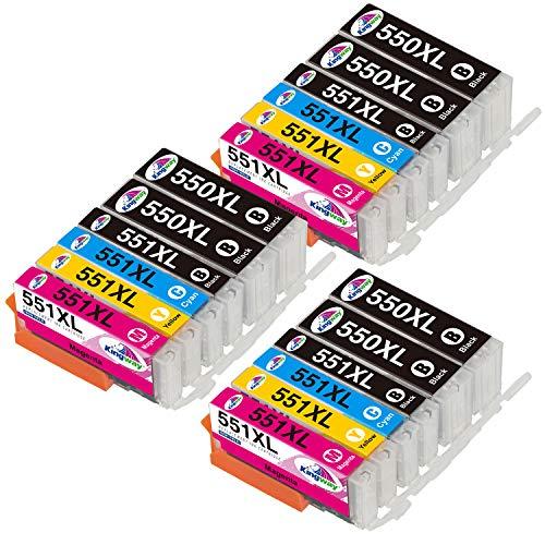 Kingway 550XL 551XL - Cartuchos de tinta compatibles con Canon PGI-550 CLI-551 compatibles con Canon PIXMA IP7250 IP8750 MX925 MG5650 IX6850 MX725 MG5550 MG6350 MG6450 MX920 (18) el paquete).
