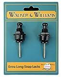 Walker & Williams Extra Long Deep Barrel Black Strap Locks for Thick Guitar Straps