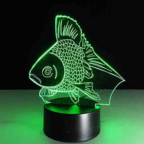 RJGOPL Goldfish 3D-bureaulamp, mini-leds, werkt op batterijen, acryl, nachtlampje, wandlamp, werkt op batterijen, voor kinderen