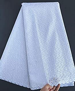 Powder Blue Intricate Eyelet Embroidery African Swiss Voile Lace Real Polish Cotton Fabric Excellent 5 Yards Soft by CUSODI