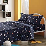 KFZ Universe Planets Printed Full Bed Sheets Set –Soft Egyptian Quality Microfiber Bed Set - Navy Blue, Solar System Planet 4pcs 1 Fitted Sheet 1 Flat Sheet Two Pillowcases for Kids Sheets Set