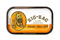 Zig-Zag Rolling Papers - Small/Large Metal Rolling Tray - with Design - Essential Smoking Accessory (Classic, Small)