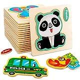 Coriver 20 Piezas de Rompecabezas de Madera, Juguetes de Madera para niñas de 2 a 3 años, Regalos para niños, Juguetes educativos, vehículos de Animales, Rompecabezas de Aprendizaje Montessori