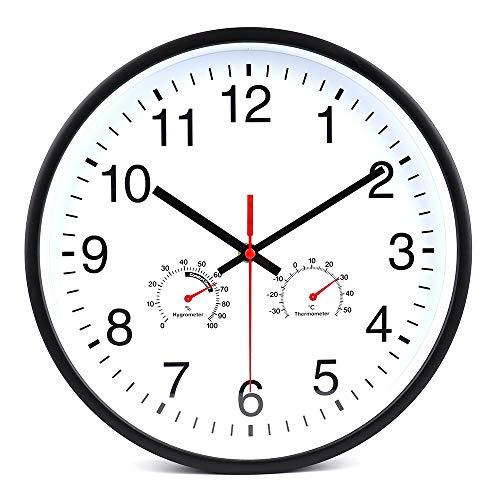 30 cm Orologio da parete con termometro e igrometro, Orologio Silenzioso a Quarzo per Salotto, Cucina, Camera da Letto, Bagno (Nero)