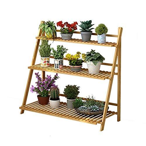 Plant Stand JT Support de fleurs en bois pour jardin ou terrasse avec 2 étages, 3 étages, pour coin intérieur et extérieur (Couleur : naturel, taille : 100 x 40 x 96 cm)