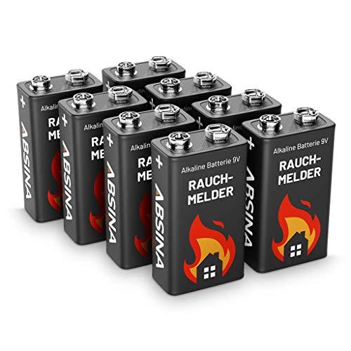 ABSINA Rauchmelder Batterie 9V Block - 8er Pack Alkaline 9V Block Batterien langlebig & auslaufsicher - Blockbatterien für Feuermelder, Bewegungsmelder, Kohlenmonoxid, Warnmelder & Rauchwarnmelder