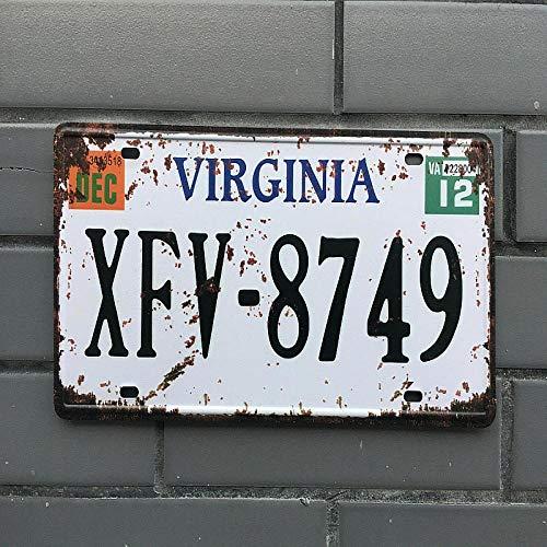 WE Placa de matrícula Estadounidense Carteles de Chapa Vintage Cartel de Chapa Decoración de Garaje Retro Placa de Metal para Barra y Dormitorio Placas de Hierro Decorativas 20x30cm cp39