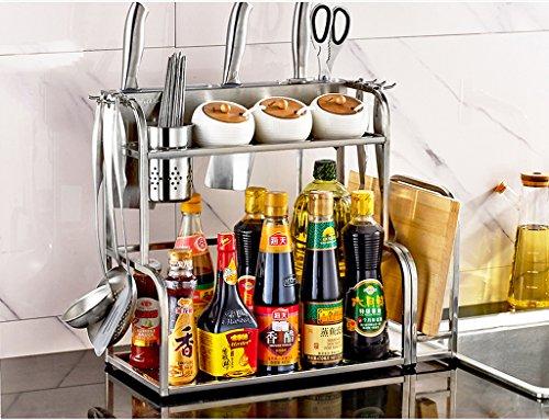 HYLR Küche Edelstahlregale Küche Lagerung Mit Haken, Messer Slots, Rohr kann ummauert Werden Nischenregal Nischenschrank Küchenregal Nischenwagen Küchenschrank Gewürzrega