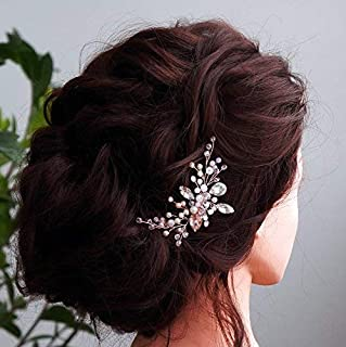 Kercisbeauty Wedding Bridal Bridesmaids Flower Girl Pink Crystal Beads and Rhinestone Tiny Cute Hair Comb Headband Bridal Hair Comb Headpiece Long Curly Bun Hair Accessories,Wedding (Rose Gold) [並行輸入品]