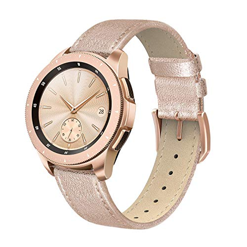 SWEES Genuine Leather Band Compatible for Galaxy Watch 42mm / Galaxy Watch 3 41mm / Galaxy Watch Active 40mm / Active 2 44mm, 20mm Leather Slim Thin Replacement Bands for Women Men, Rose Gold