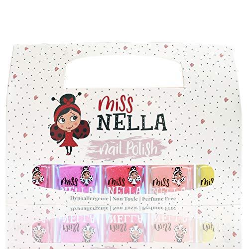 Miss Nella SUMMER SPARKLE - 5er Pack Kinder Nagellack mit Peel-off-Formel auf Wasserbasis Non-Toxic - Nagellack für Kinder