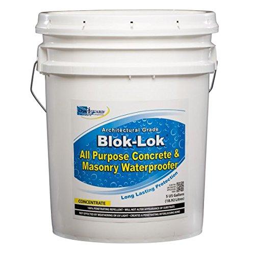 Rainguard Blok-lok 5 Gal Concentrate (Make 50 Gal) Silane Siloxane Professional Grade - Concrete, CMU, Block, Brick, Stucco, Stone for Vertical Applications, Newly Poured Concrete, 5 Yr