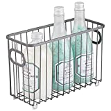 mDesign Cesta de almacenaje en metal con asas integradas – Caja organizadora pequeña con atractivo diseño en malla de alambre – Ideal como organizador de baño para cosméticos – gris oscuro