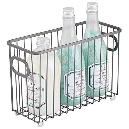 mDesign - Cesta organizadora de metal para baño, diseño de rejilla de alambre de granja, para armarios, estantes, armarios, encimeras...