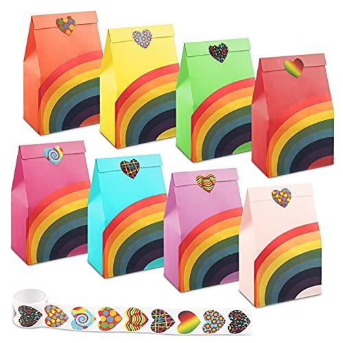 Dyroe Bolsas de Papel, 48 pcs Bolsa Regalo Bolsas Cumpleaños Infantil en 8 Colores Bolsas para Chuches + 100 Pcs Lindas...