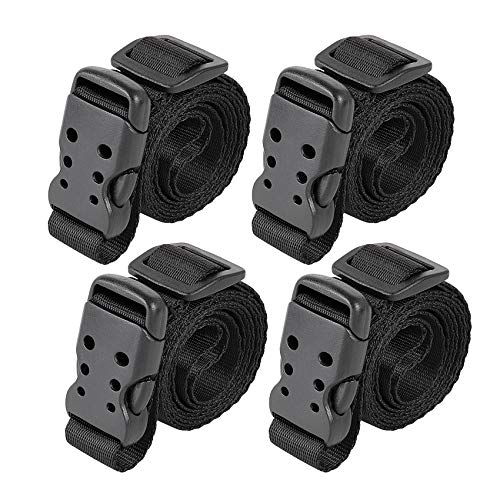 """Ayaport Utility Straps with Buckle 40"""" Quick-Release Adjustable Nylon Straps Black 4 Pack (0.75""""x40"""", Black)"""