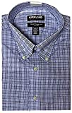 Kirkland Signature Men's Button Down Dress Shirt Traditional Fit (Blue/White Mini Check,16 1/2 32/33)