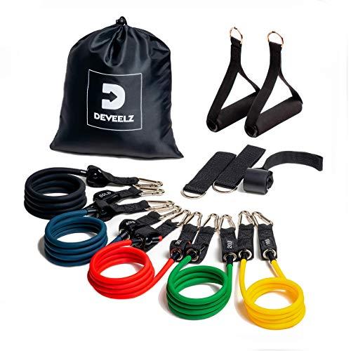 Resistance Bands Set 11 Pcs, Kombinierte und Stapelbare 150 Lbs. 5X Fitnessbänder Set mit Griffe & Türanker & Fußschlaufen Knöchelriemen