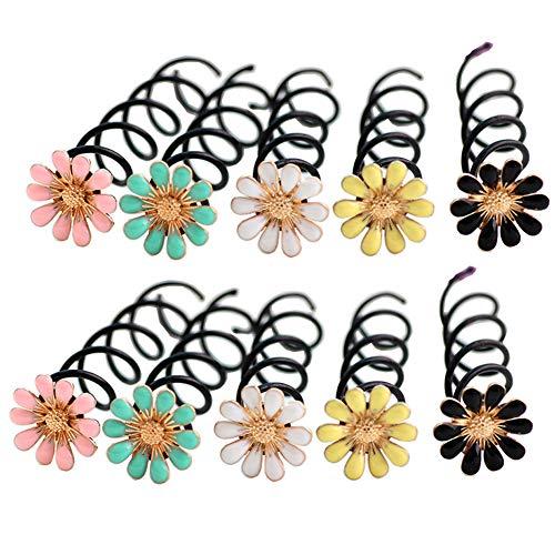 10 unidades surtidas de colores Daisy Shaped Spirale Twiste Insert Horquillas para el pelo trenzado, clips up-do para peinar el cabello, cierre de clip, accesorio para peluquería