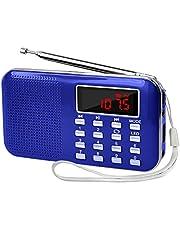 LEFON 充電式 多機能 AM FMポケットラジオ 高感度 USB.microSDカード対応 MP3プレーヤー LEDライト 非常用ラジオ 小型で軽量 携帯ラジオ (ブルー)