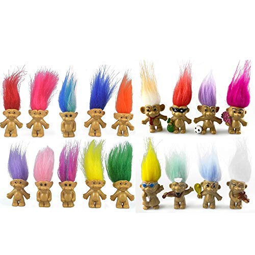 18packs Lucky Troll Dolls Set,PVC Vintage Lucky Doll Chromatic Adorable for Collections, School Project, Arts and Crafts, Party Favors. (Style2-18packs)
