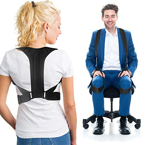 Posture Corrector For Men and Women Back Brace Clavicle Support with Adjustable 2 Wearing Ways - More Effective Posture Brace Relieve Pain For Neck, Shoulders Back -2020 Updated Version (Large)