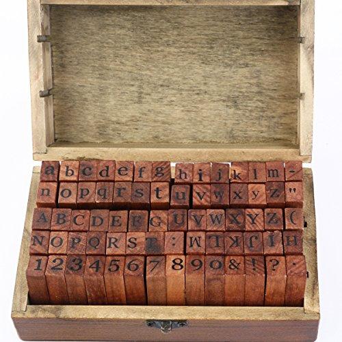 Gummi Stempel Set - ROSENICE Holz Stempelset Alphabet Buchstaben Stamp, 70pcs