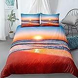 Beach Wave Landscape Print in The Sunset Bedding Set Duvet Cover+Pillow Case 220x240cm
