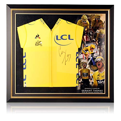 Tour de France 2018 gele trui gesigneerd door Geraint Thomas. In premium frame
