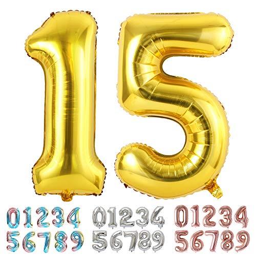 Ponmoo Foil Globo Número 15 51 Dorado, Gigante Numeros 0 1 2 3 4 5 6 7 8 9 10-19 20-29 30 40 50 60 70 80 90 100, Grande Globos para La Boda Aniversario, Globo de Cumpleaños Fiesta Decoración