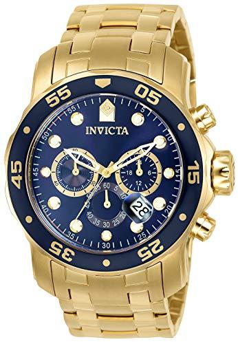 Relógio masculino Invicta 0073 Pro Diver Collection Cronógrafo banhado a ouro 18 k com pulseira de elos