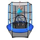 Gulujoy Mini Indoor Trampoline for Kids with Enclosure Net and Safety Pad 55 Inch, Heavy Duty 130Lbs, Blue