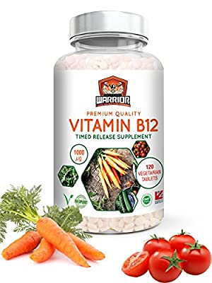 Vitamin B12 Methylcobalamin 1000mcg 120 Vegetarian and Vegan Tablets | 4 Month's Supply | Made in UK by Unchained Warrior | Reduce Tiredness and Fatigue | Supports Immunity and Red Blood Cells