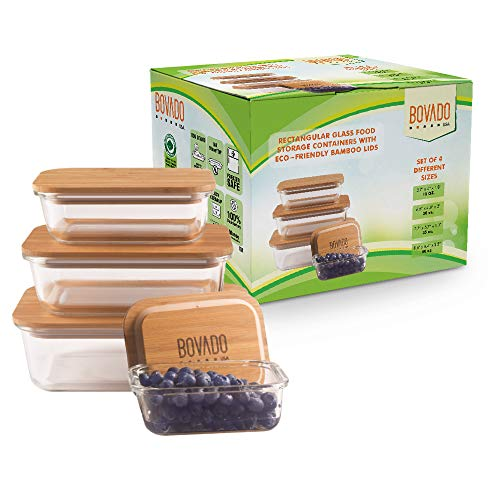 Set of 4 Rectangular Glass Food Storage Containers with Eco-Friendly Bamboo Lids | Multi-Pack Glass Bento Mixing Bowls for Meal Prep, Leftovers, Baking, Cooking & Lunch | BPA-Free Kitchen Items