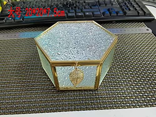 ELLDOO Gold Diamond Pattern Hexagon Jewelry Box, Glass Vintage Treasure Box Storage Trinket Organizer Keepsake Mirror Surface with Lid for Valentine Wedding Dresser Bedroom Decoration, Large Size