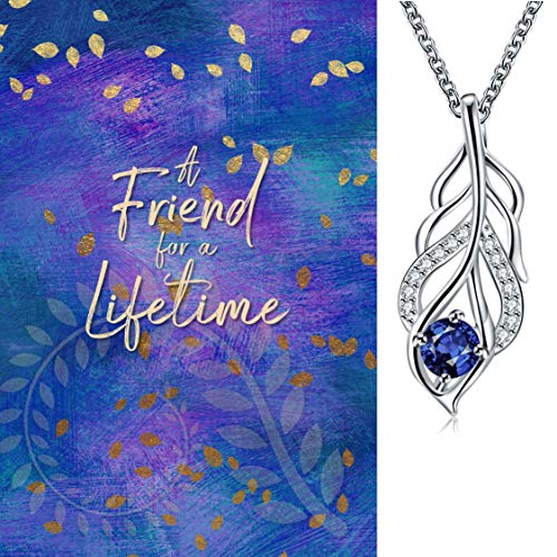 Smiling Wisdom - Blue Silver Leaf Necklace Friendship Gift Set - Reason Season Lifetime Friendship Greeting Card - Unique Gift Set For Her Best Woman Friend BFF Bestie - Silver Blue