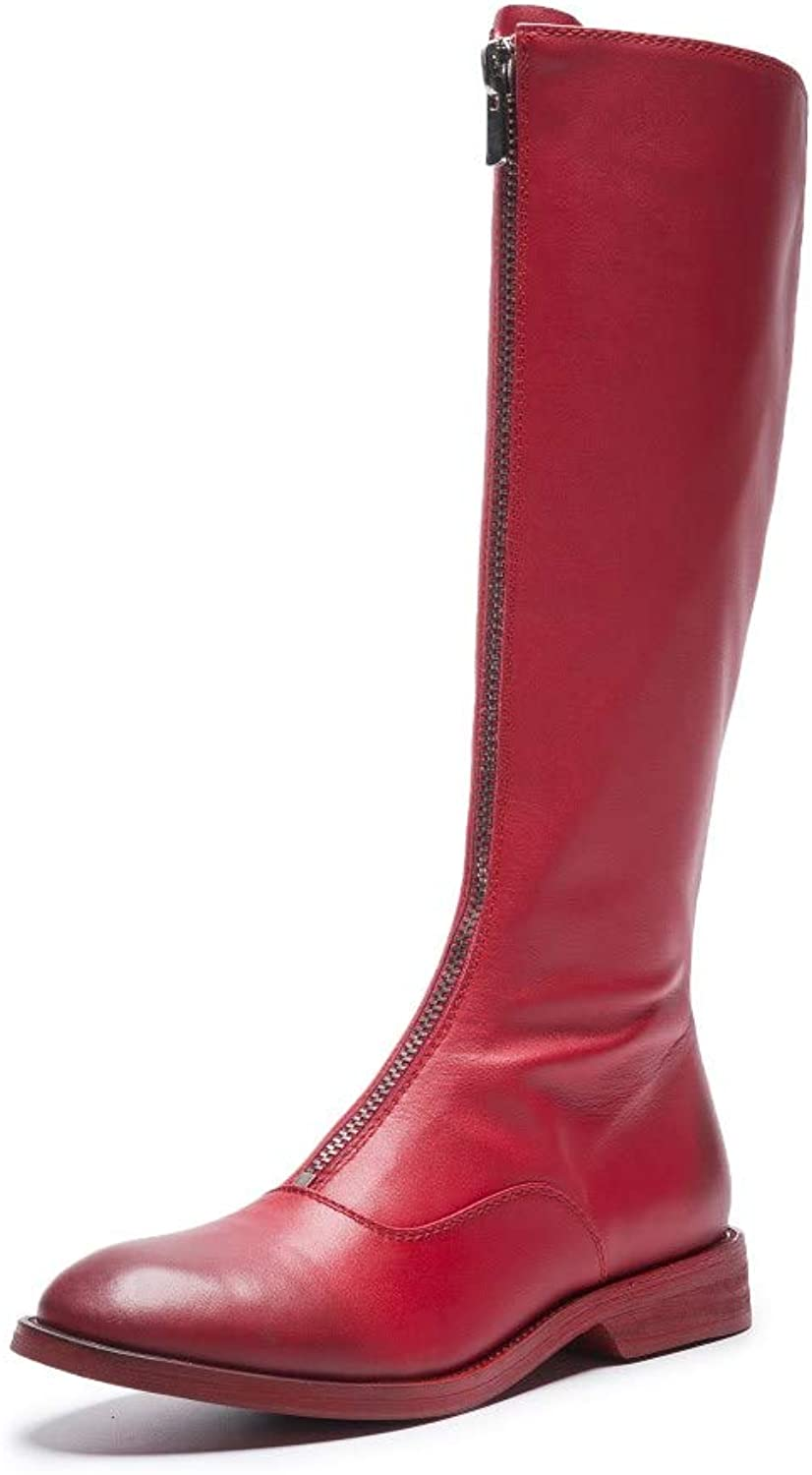 Nine Seven Women's Genuine Leather Round Toe Riding Knee High Zipper Boots - Handmade Casual Fashion Winter Leather Boots