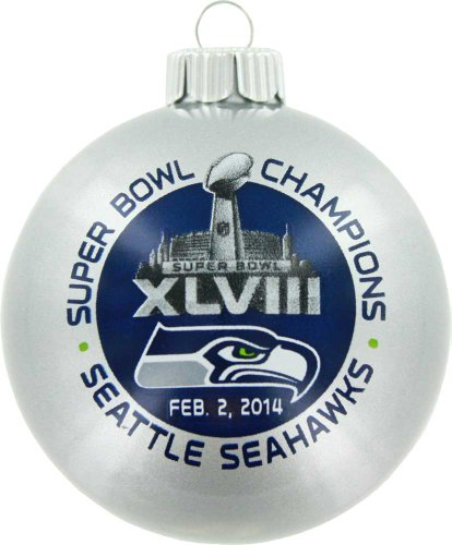 Seattle Seahawks Official NFL 3 inch Glass Ball Christmas Ornament