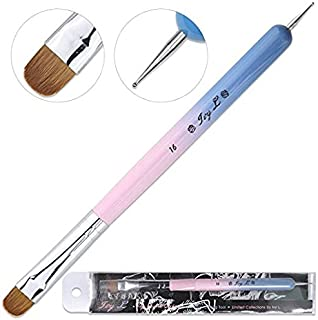 Ivy-L Premium 2 Way French Gel Acrylic Nail Art Kolinsky Brush With Dotting Tool for Professional Manicure Cuticle Clean Up Nail Art Design, Pink Blue Wood Handle (Size 16)