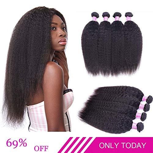 Brazilian Kinky Straight Human Hair Bundles Yaki Straight Hair Weave 8A Unprocessed Brazilian Virgin Human Hair...