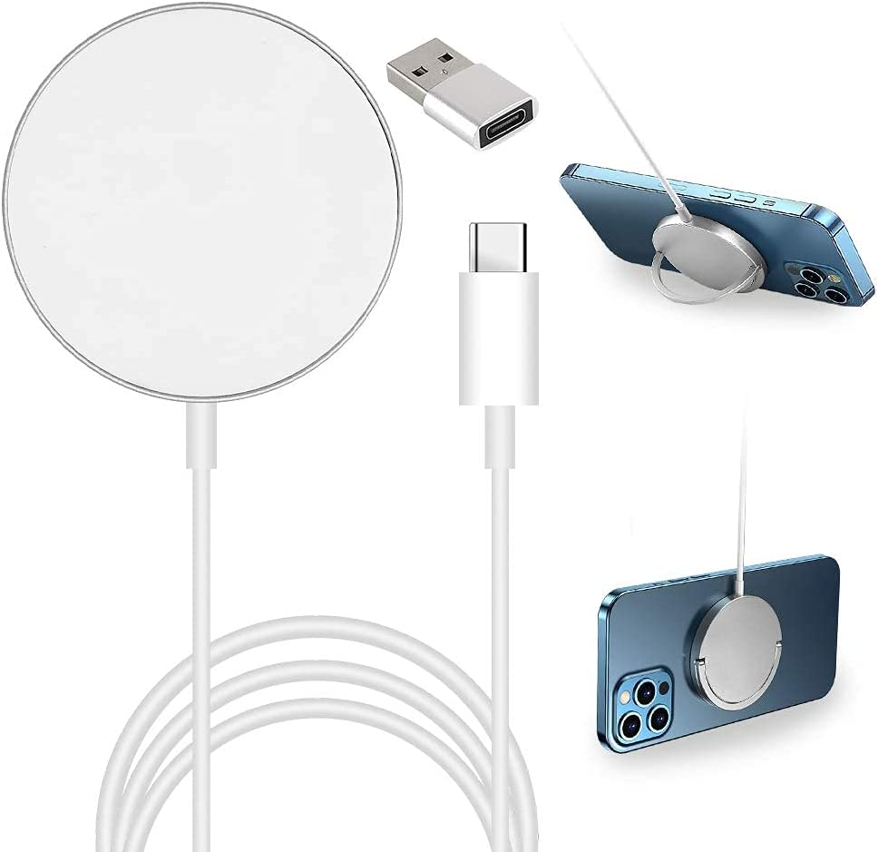 iPhone 12 Magnetic Wireless Charger,Longmajs 20W Fast Wireless Chargering with Phone Holder for iPhone 11/12 pro max,Samsung Galaxy S21/S20, AirPods Pro, Qi-Enabled Devices (No AC Adapter)
