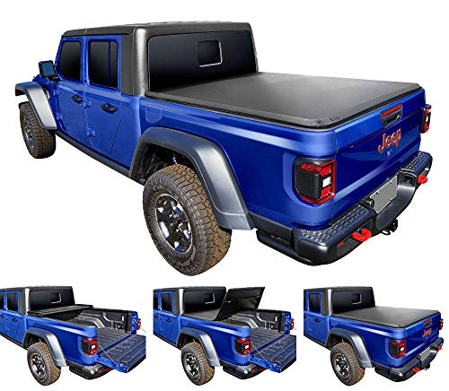 Tyger Auto T3 Soft Tri-Fold Truck Bed Tonneau Cover Compatible with 2020 Jeep Gladiator (JT) | TG-BC3J1060