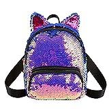 seawood Seawood Strapazierfähige Pailletten Katzenohren Design Reißverschluss Rucksack Reisetasche Navy Girl Mini Schultasche Reisetasche Reisetasche