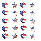 20Pcs Red White and Blue American Flag Star Heart Shaped Charm Pendant Gold Plated Dainty Ornament Synthetic Glass Living Memory Jewelry Making Independence Day Decoration (red White and Blue)