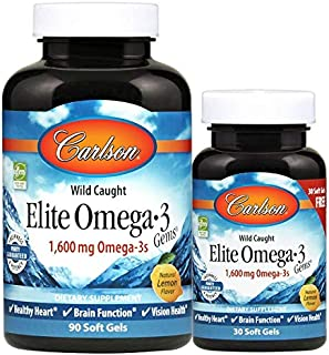 Carlson Labs Elite Omega-3 Gemas. 1600 Mg