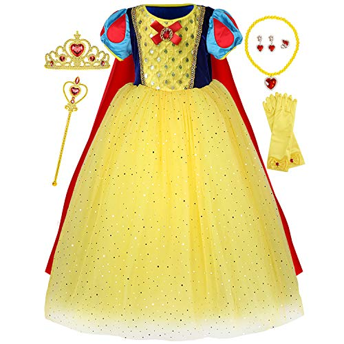 Princess Snow White Costume Generic Dress Up with Accessories for Girls Birthday Party 6T 7T (6-7 Years)