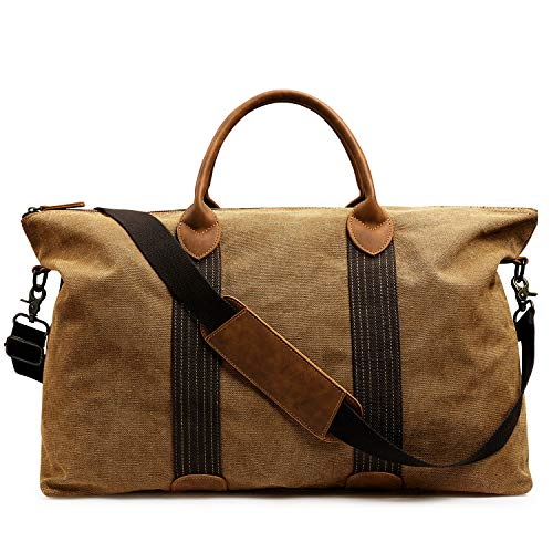 Newshows Canvas Travel Duffel Shoulder Bag for Men Women Large Weekender Overnight Carryon Handbag with Luggage Sleeve