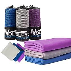 Light Blue, Grey, Dusty Blue, Small, Medium, Large Microfibre Travel /& Sports Towel 3 pack